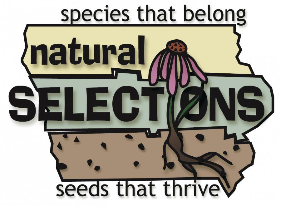 "Logo with text ""natural SELECTIONS - species that belong, seeds that thrive"" on background of the state of Iowa"