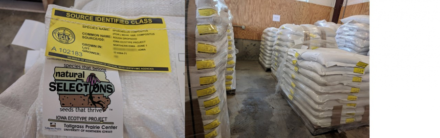 "Seed bag with yellow tag certifying its source and ""natural Selections"" label; pallets of yellow tag seed ready for disbursement to Iowa county roadside programs"