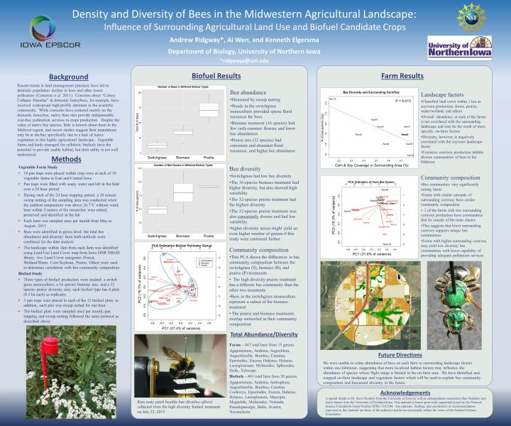 Density and Diversity of Bees in the Midwestern Agricultural Landscape