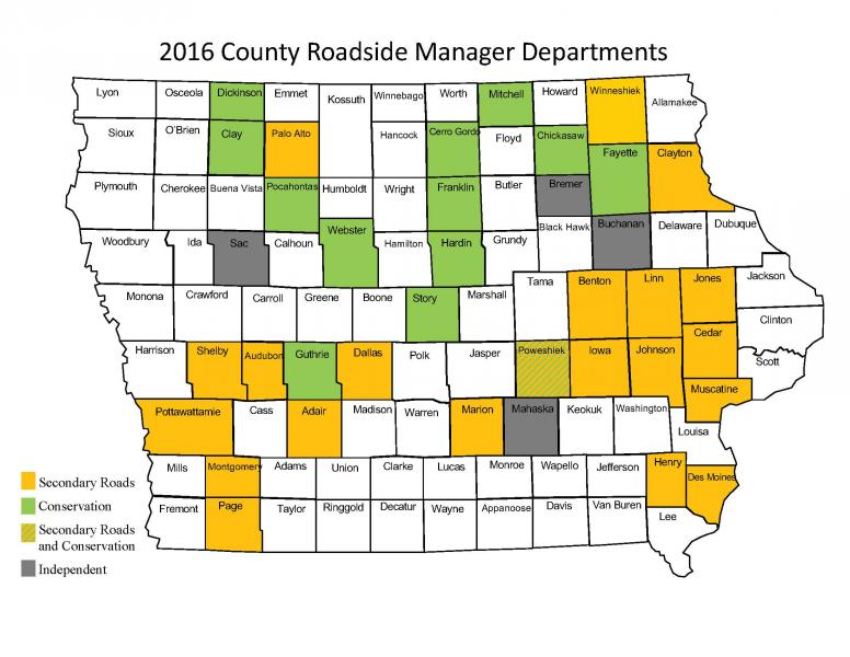 Map of Iowa counties showing which roadside department each roadside manager is in (Secondary Roads Department, Conservation, Both, or Independent)