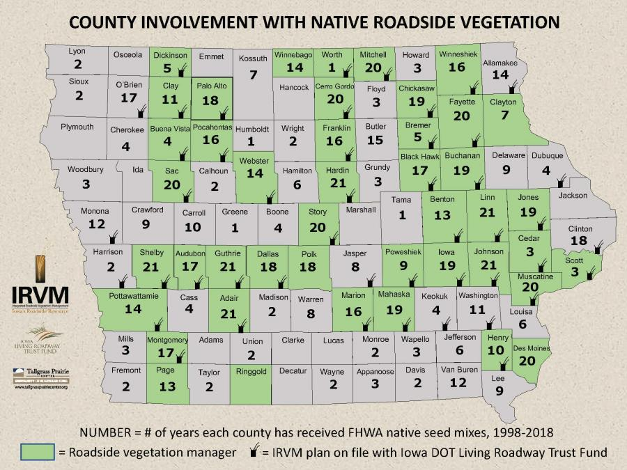 Map of county involvement in integrated roadside vegetation management