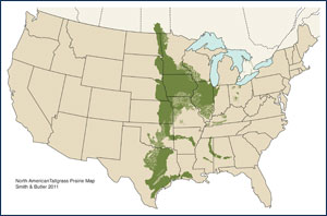 North American Tallgrass Prairie Map
