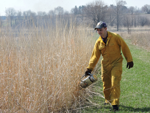 man in yellow fire suit lighting a prescribed grass fire