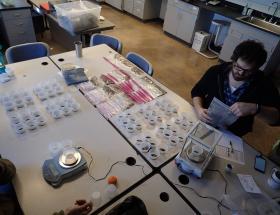 Preparing a seed mix in the Tallgrass Prairie Center lab